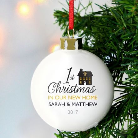 Personalised 1st Christmas In Our New Home Bauble Decoration